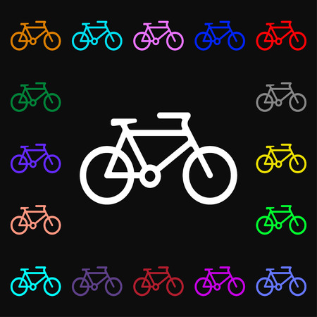 bike icon sign. Lots of colorful symbols for your design. Vector illustration