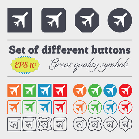 flight steward: airplane icon sign. Big set of colorful, diverse, high-quality buttons. Vector illustration