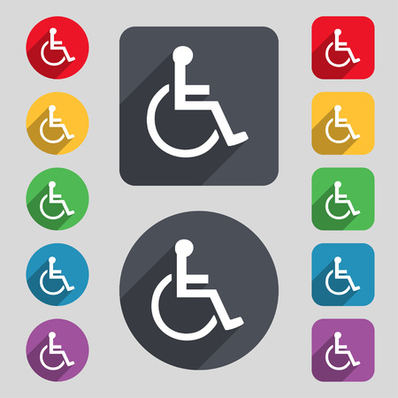 blind dog: disabled icon sign. A set of 12 colored buttons and a long shadow. Flat design. Vector illustration
