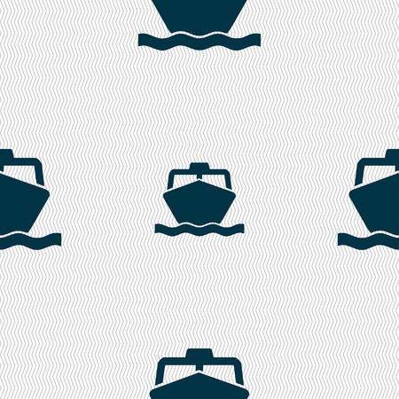 brigantine: the boat icon sign. Seamless pattern with geometric texture. Vector illustration Illustration