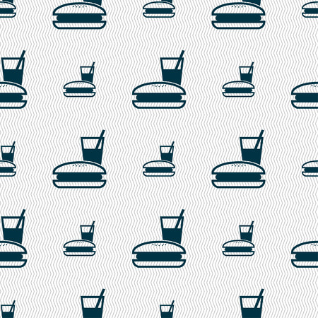 chinese takeout box: lunch box icon sign. Seamless pattern with geometric texture. Vector illustration