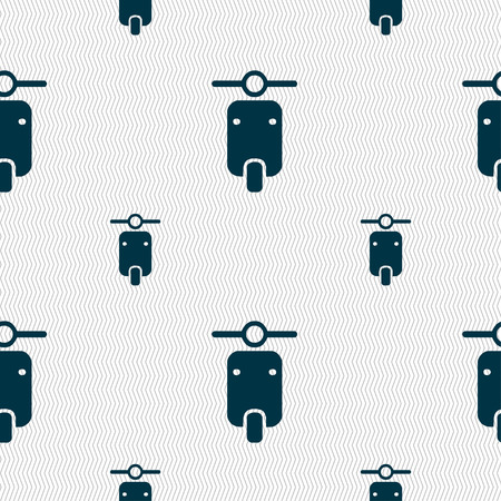 chrome man: motorcycle icon sign. Seamless pattern with geometric texture. Vector illustration
