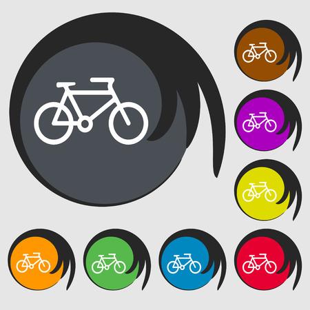 biking glove: bike icon sign. Symbol on eight colored buttons. Vector illustration Illustration