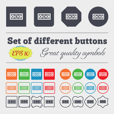currency converter: Cash currency icon sign. Big set of colorful, diverse, high-quality buttons. Vector illustration