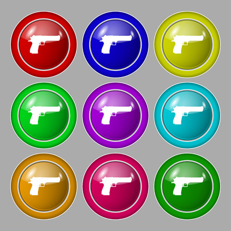 explosive gas: gun icon sign. symbol on nine round colourful buttons. Vector illustration