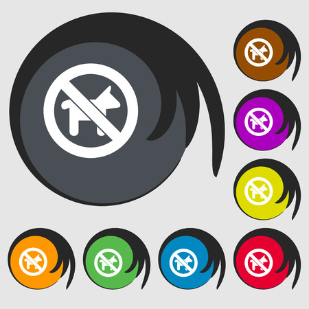 dog walking: dog walking is prohibited icon sign. Symbol on eight colored buttons. Vector illustration Illustration