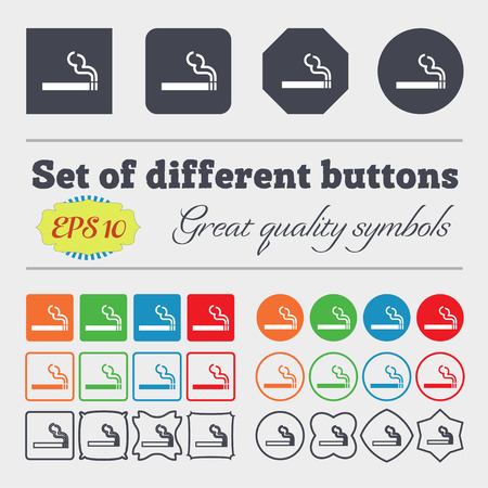 cigar shape: cigarette smoke icon sign. Big set of colorful, diverse, high-quality buttons. Vector illustration