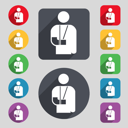 broken arm: broken arm, disability icon sign. A set of 12 colored buttons and a long shadow. Flat design. Vector illustration