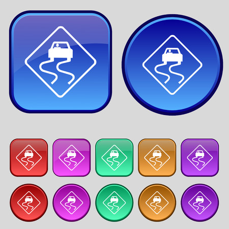 slippery: Road slippery icon sign. A set of twelve vintage buttons for your design. Vector illustration