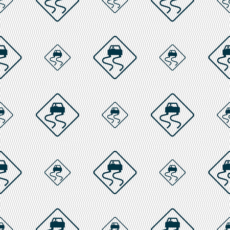 slippery: Road slippery icon sign. Seamless pattern with geometric texture. Vector illustration Illustration