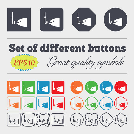 floater: Fishing icon sign. Big set of colorful, diverse, high-quality buttons. Vector illustration Illustration