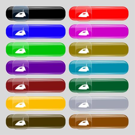 laundry hanger: Hierro icono de signo. Fije de catorce botones multicolores de vidrio con lugar para el texto. Ilustraci�n vectorial