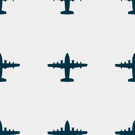 aero: aircraft icon sign. Seamless pattern with geometric texture. Vector illustration