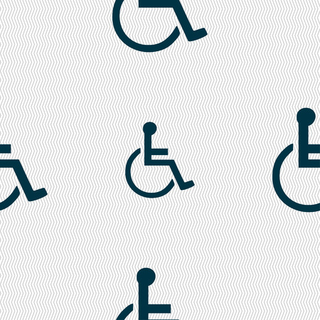 blind dog: disabled icon sign. Seamless pattern with geometric texture. Vector illustration Illustration