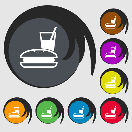 lunch box: lunch box icon sign. Symbol on eight colored buttons. Vector illustration