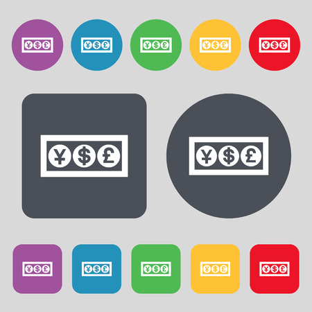 currency converter: Cash currency icon sign. A set of 12 colored buttons. Flat design. Vector illustration