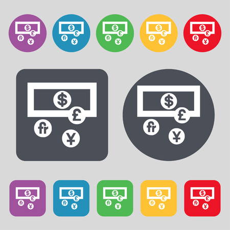 australian money: currencies of the world icon sign. A set of 12 colored buttons. Flat design. Vector illustration