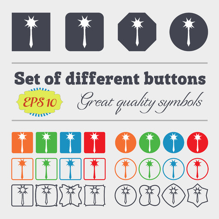 adventure story: Mace icon sign. Big set of colorful, diverse, high-quality buttons. Vector illustration