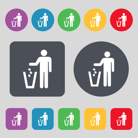 throw away: throw away the trash icon sign. A set of 12 colored buttons. Flat design. Vector illustration
