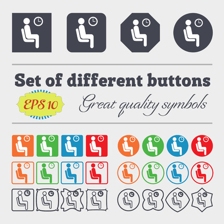 metering: waiting icon sign. Big set of colorful, diverse, high-quality buttons. Vector illustration