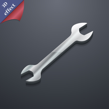fitter: wrench icon symbol. 3D style. Trendy, modern design with space for your text Vector illustration