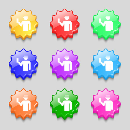 inspector: Inspector icon sign. symbol on nine wavy colourful buttons. Vector illustration