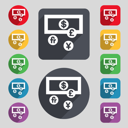 australian money: currencies of the world icon sign. A set of 12 colored buttons and a long shadow. Flat design. Vector illustration