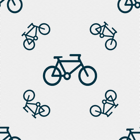 biking glove: bike icon sign. Seamless pattern with geometric texture. Vector illustration