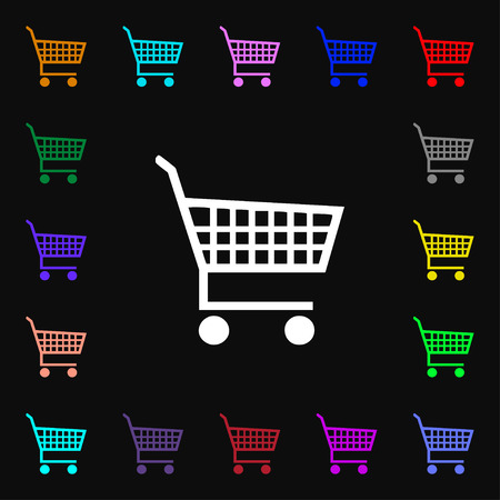 empty wallet: shopping cart icon sign. Lots of colorful symbols for your design. Vector illustration
