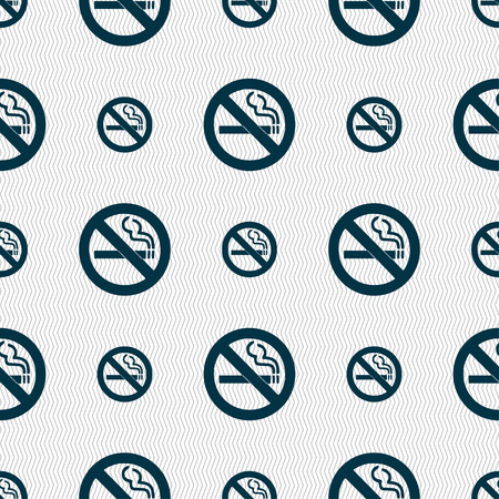 pernicious habit: no smoking icon sign. Seamless pattern with geometric texture. Vector illustration