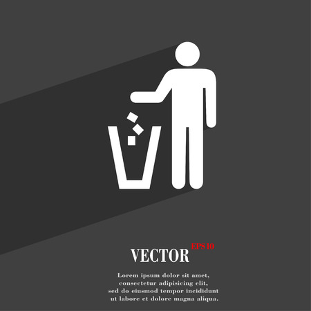 throw away: throw away the trash icon symbol Flat modern web design with long shadow and space for your text. Vector illustration