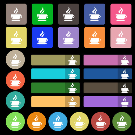 turkish dessert: tea, coffee icon sign. Set from twenty seven multicolored flat buttons. Vector illustration