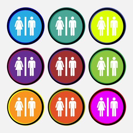 cameo: silhouette of a man and a woman icon sign. Nine multi colored round buttons. Vector illustration