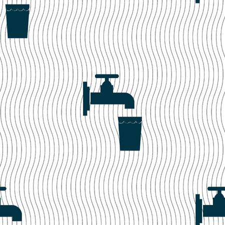kunststoff rohr: Wasserhahn, Glas, Wasser-Symbol-Zeichen. Nahtloses Muster mit geometrischen Textur. Vektor-Illustration
