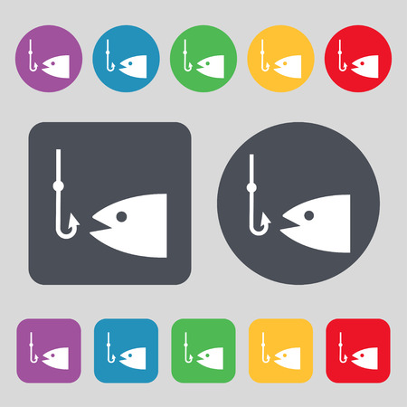 floater: Fishing icon sign. A set of 12 colored buttons. Flat design. Vector illustration