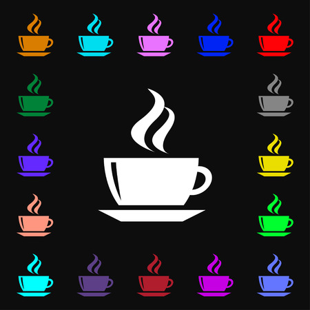 turkish dessert: tea, coffee icon sign. Lots of colorful symbols for your design. Vector illustration