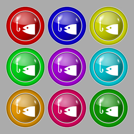 sinker: Fishing icon sign. symbol on nine round colourful buttons. Vector illustration Illustration