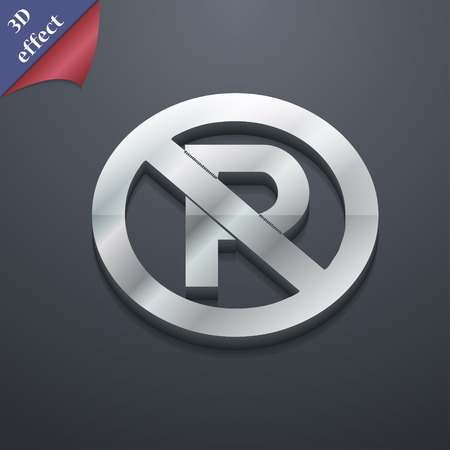 traffic warden: No parking icon symbol. 3D style. Trendy, modern design with space for your text Vector illustration