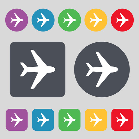 fighter plane: Plane icon sign. A set of 12 colored buttons. Flat design. Vector illustration