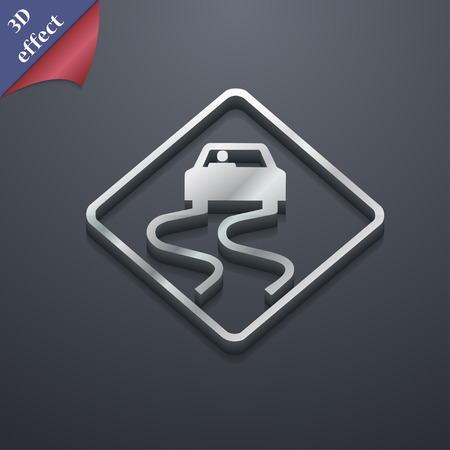 stumbling: Road slippery icon symbol. 3D style. Trendy, modern design with space for your text Vector illustration