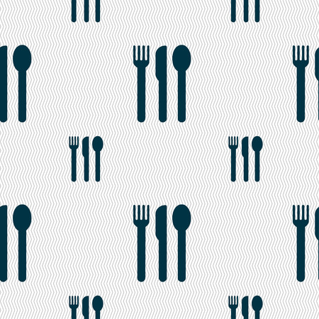 fork knife spoon: fork, knife, spoon icon sign. Seamless pattern with geometric texture. Vector illustration Illustration