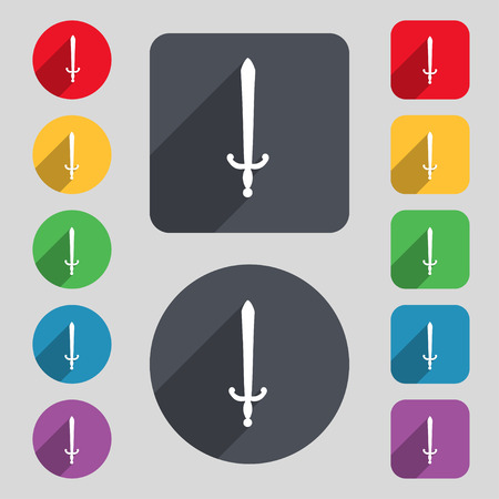 longsword: the sword icon sign. A set of 12 colored buttons and a long shadow. Flat design. Vector illustration Illustration