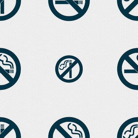 hazard damage: no smoking icon sign. Seamless pattern with geometric texture. Vector illustration