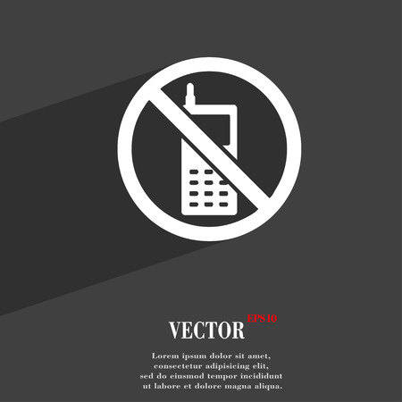 refrain: mobile phone is prohibited icon symbol Flat modern web design with long shadow and space for your text. Vector illustration Illustration