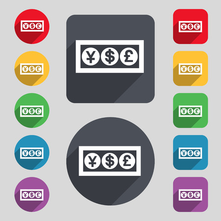converter: Cash currency icon sign. A set of 12 colored buttons and a long shadow. Flat design. Vector illustration