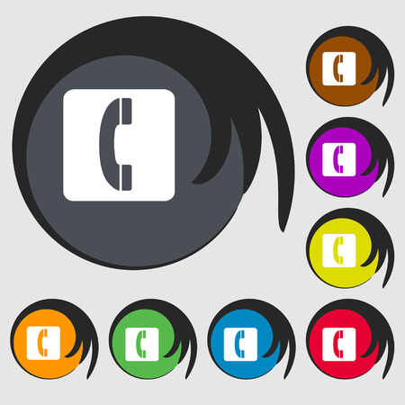 touch base: handset icon sign. Symbol on eight colored buttons. Vector illustration