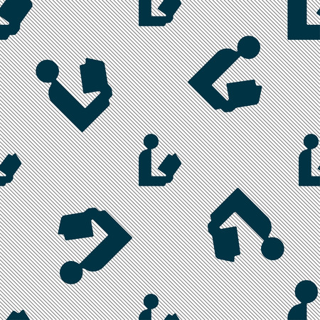 videobook: read a book icon sign. Seamless pattern with geometric texture. Vector illustration