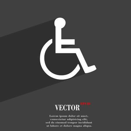 paralyze: disabled icon symbol Flat modern web design with long shadow and space for your text. Vector illustration