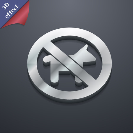 dog walking: dog walking is prohibited icon symbol. 3D style. Trendy, modern design with space for your text Vector illustration