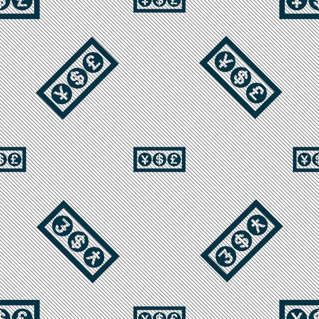 converter: Cash currency icon sign. Seamless pattern with geometric texture. Vector illustration